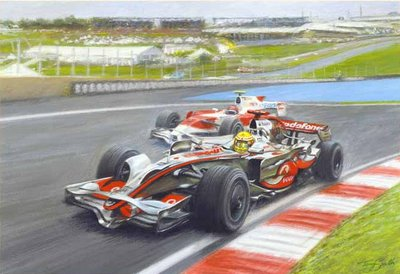 A Defining Point (Lewis Hamilton overtakes Timo Glock) by Tony Smith