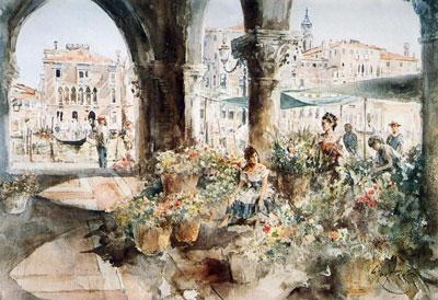 A Flower Market In Venice by Gordon King