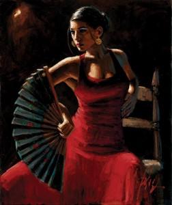 Celina Con Abanico by Fabian Perez