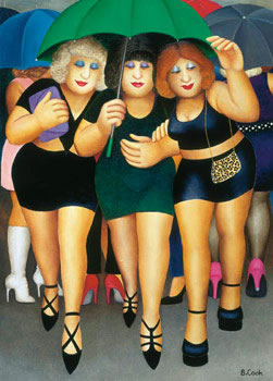 Clubbing In The Rain by Beryl Cook