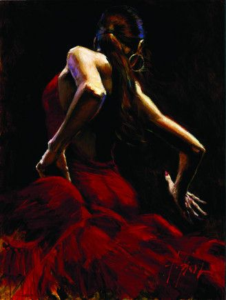 Dancer In Red by Fabian Perez