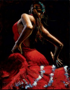 Dancer In Red With White by Fabian Perez