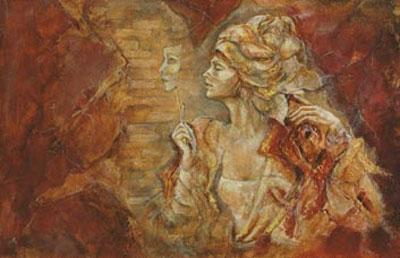 Faces & Masks I (canvas) by Joy Kirton Smith