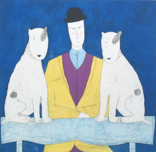 Lady & Two Dogs - Blue