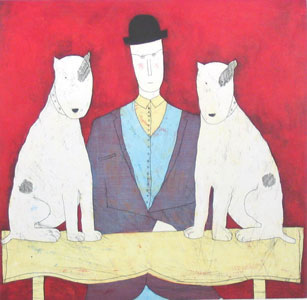 Lady & Two Dogs - Red