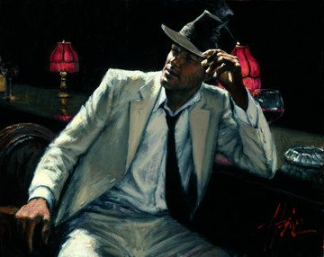Man In White Suit V by Fabian Perez