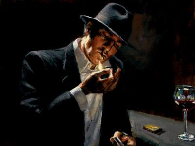 Man Lighting Cigarette by Fabian Perez