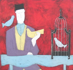 Man With Bird Cage - Red