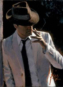 Marcus With Hat And Cigarette by Fabian Perez