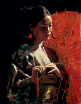 Michiko With Red Umbrella by Fabian Perez
