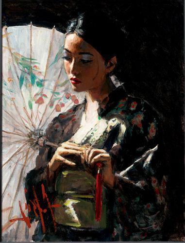 Michiko with White Umbrella - LPEZ885 by Fabian Perez