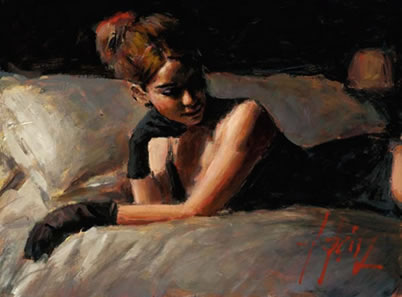 Paola On The Bed by Fabian Perez
