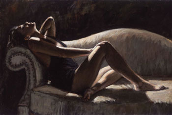 Paola On The Couch by Fabian Perez