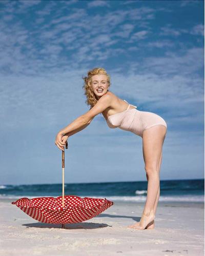 Polka Dot Umbrella, Tobay Beach, 1949