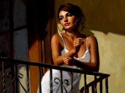 Saba At The Balcony VII - White Dress by Fabian Perez
