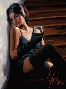 Saba On The Stairs With White Wall by Fabian Perez