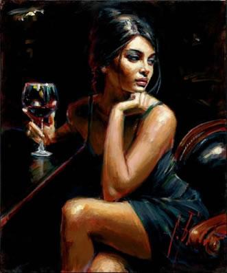 Saba With Glass Of Red Wine by Fabian Perez