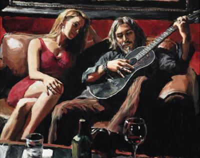Self Portrait with Girl and Guitar by Fabian Perez