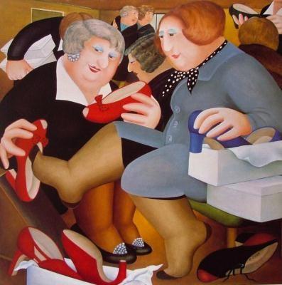 Shoe Shop by Beryl Cook