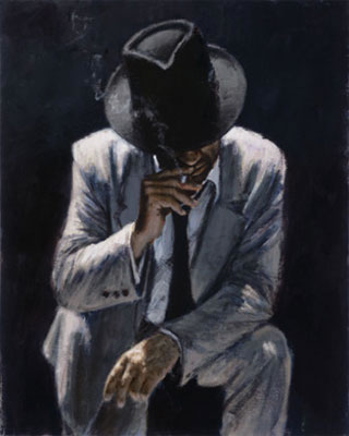 Smoking Under The Light With White Suit by Fabian Perez
