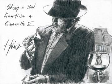 Study For Man Lighting A Cigarette II by Fabian Perez