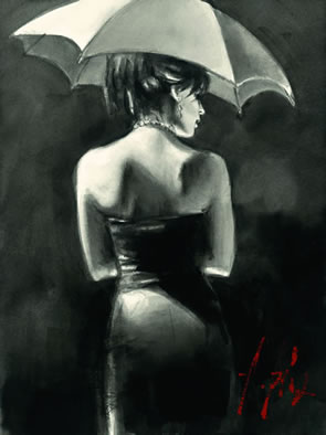Study For Woman With White Umbrella (Deluxe) by Fabian Perez