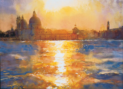 Sunset Over The Salute by Cecil Rice