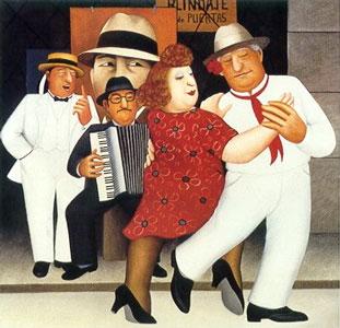 Tango Busking by Beryl Cook