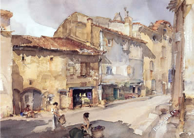 The Street With The Sundial by Russell Flint