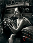 Darya in Car with Lipstick a limited edition print by Fabian Perez