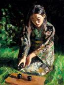 Geisha Pouring Sake by Fabian Perez